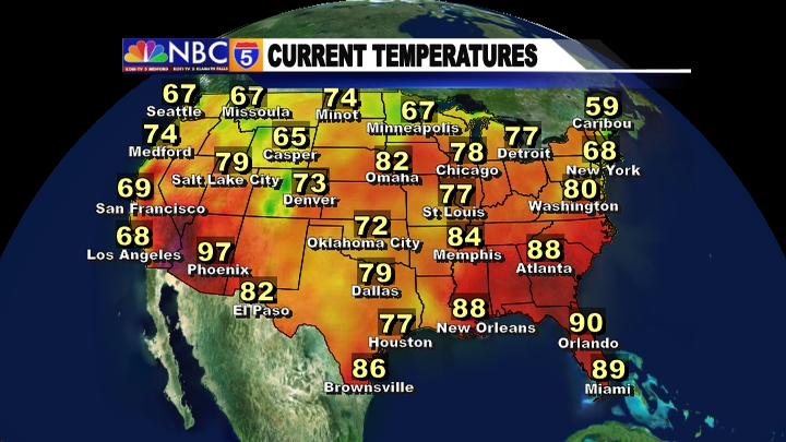 Weather Graphics KOBITV NBC KOTITV NBC - Us current temps map